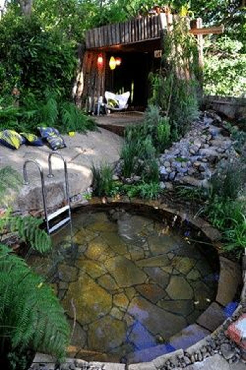 tub inground hot natural pin stone stacked rustic pool with diy