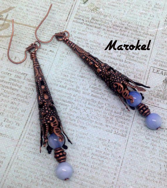 angelite tube earrings copper filigree glacier blue lavender etsy copper earrings angelite metal beads