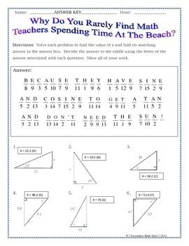 Right Triangles Sin Cos Tan Soh Cah Toa Trig Riddle Practice Worksheet Mathematics Knowledge Pinterest Sin Cos Trigonometry And Worksheets