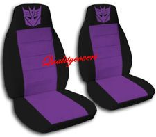 2 Car Seat Covers In Black Purple With Decepticon Front Set Seat Covers Purple Car Purple Seat Covers