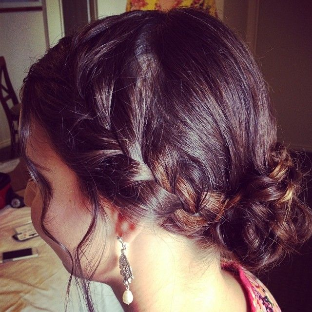 """Cute braided bridesmaid hair. Using Wella professional styling products #vintageweddings #bridesmaidhair #braiding #hairup #braids @wellaeducation"""