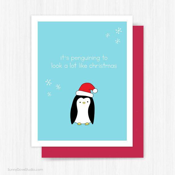 Christmas card funny holiday cards penguin pun happy holidays for christmas card funny holiday cards penguin pun happy holidays for friend her him cute fun handmade m4hsunfo