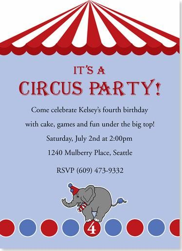 Birthday Party Invitations - It\u0027s A Circus Party Invitation 5th
