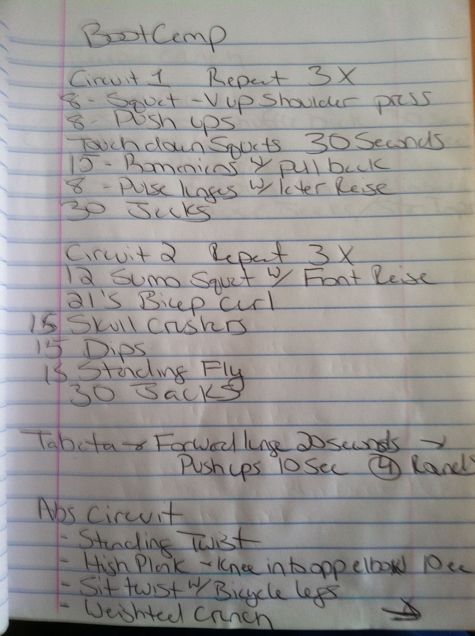Workouts DONE ( I apologize for my handwriting)