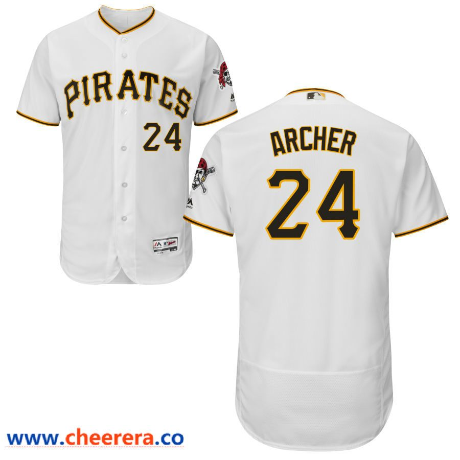 ed0efeded Men's Pittsburgh Pirates #24 Chris Archer Majestic White Flex Base Jersey