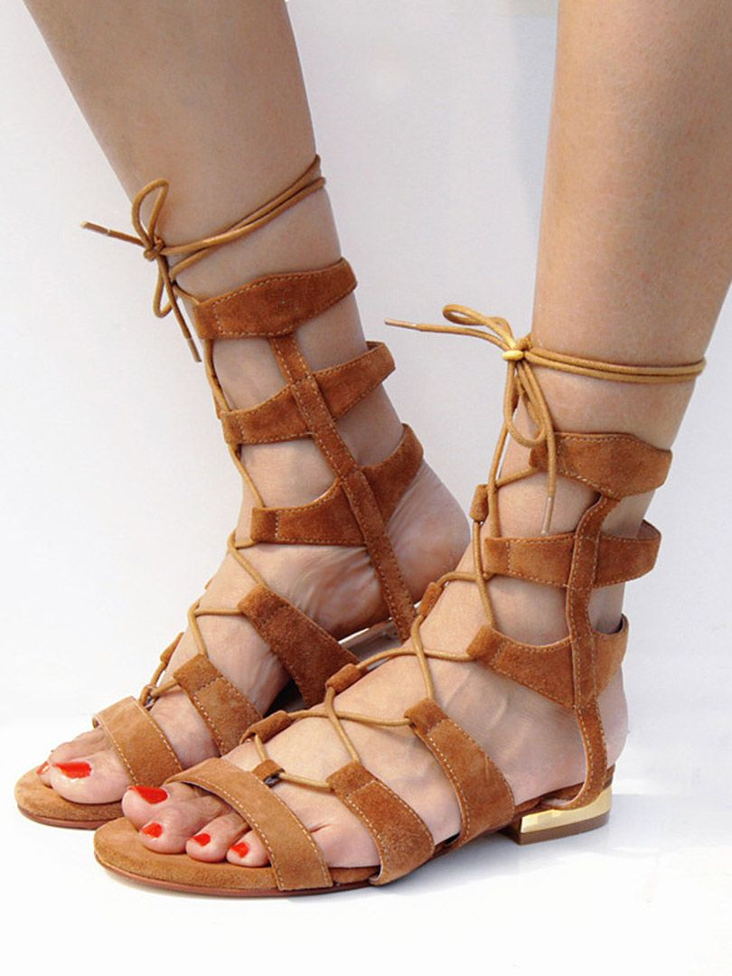bb324726e0d0 Brown Suede Lace-up Gladiator Sandals with Gold Heels