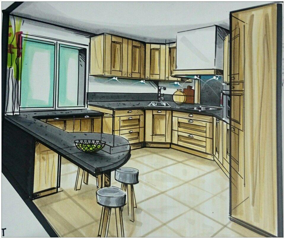 latest projet de cuisine dessin la main par graldine terrades pour fab concept drawing with. Black Bedroom Furniture Sets. Home Design Ideas