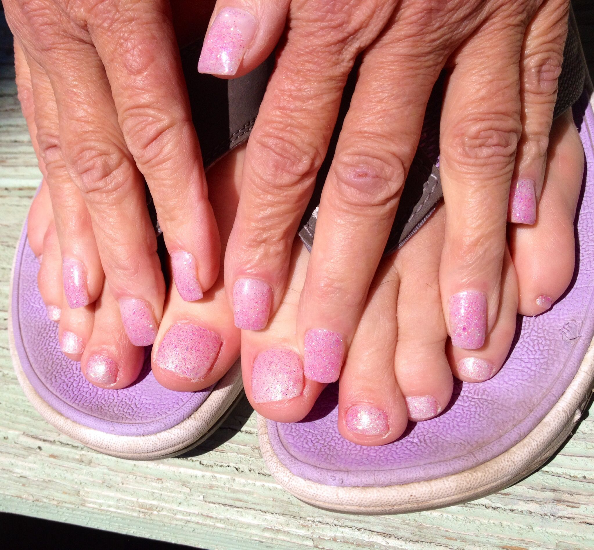 Acrylic nails matched with gel toes