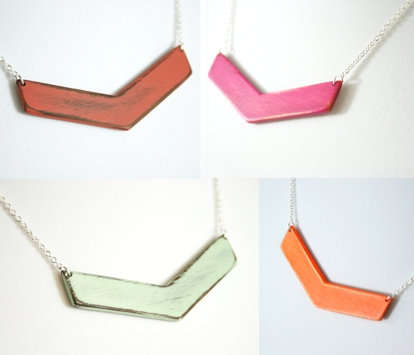 Wooden Chevron Necklaces >> These are fun!