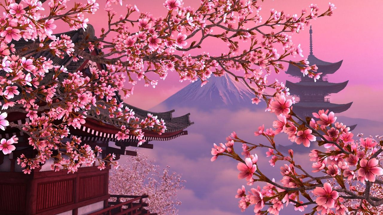 Cherry Blossom Wallpaper Desktop Google Search Scenery Wallpaper Cherry Blossom Wallpaper Aesthetic Desktop Wallpaper