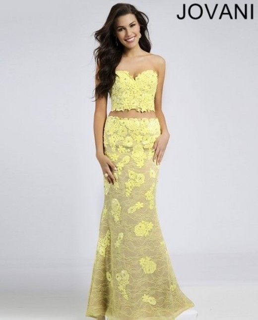 Long Yellow Two Piece Floral Gown 2015 | Dresses | Pinterest | Prom ...