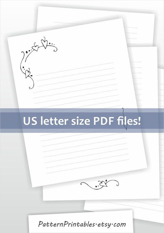 Printable writing paper Lined paper Digital stationery Elegant - lined letter paper