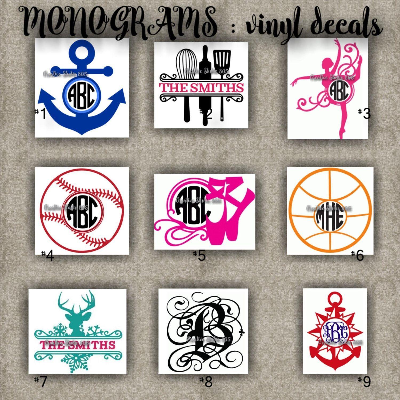 Car sticker design name - Monogram Vinyl Decals Name Initial Decal Sticker Car Decals Car