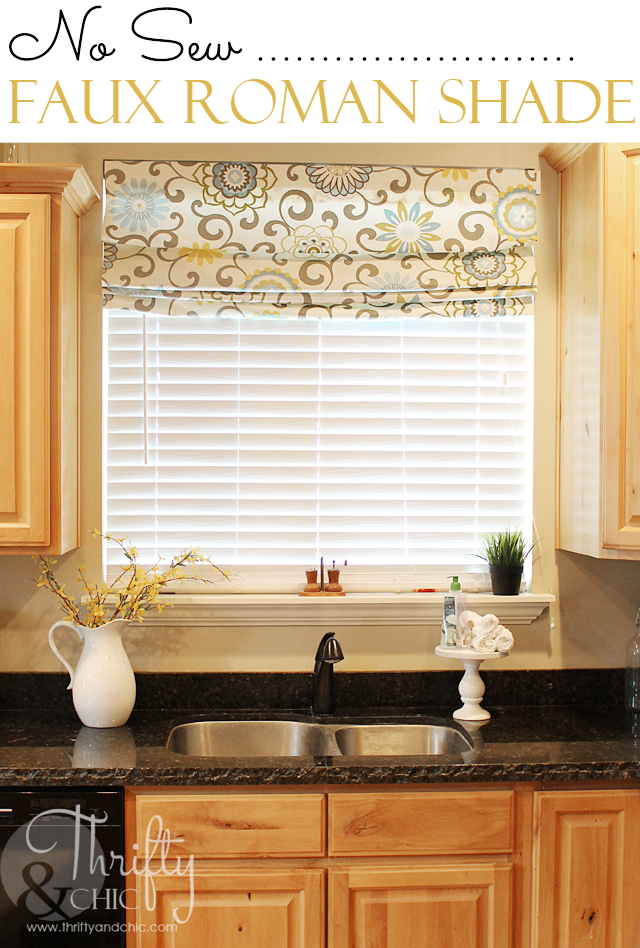 15 little clever ideas to improve your kitchen 12 faux for Roman shades for kitchen windows
