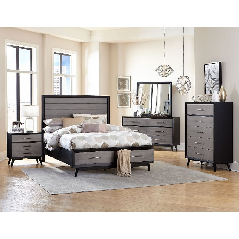 Contemporary Gray And Black 4 Piece Full Bedroom Set Raku King