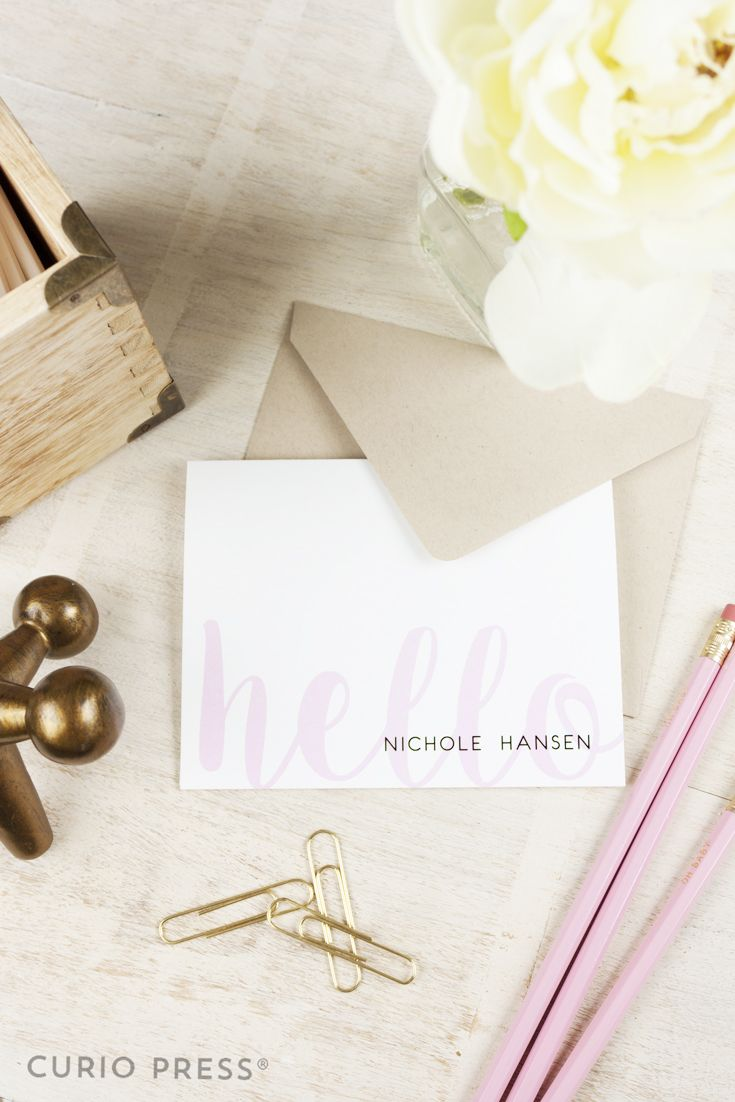 Personalized Stationary Set Folded Script Hello Personalized