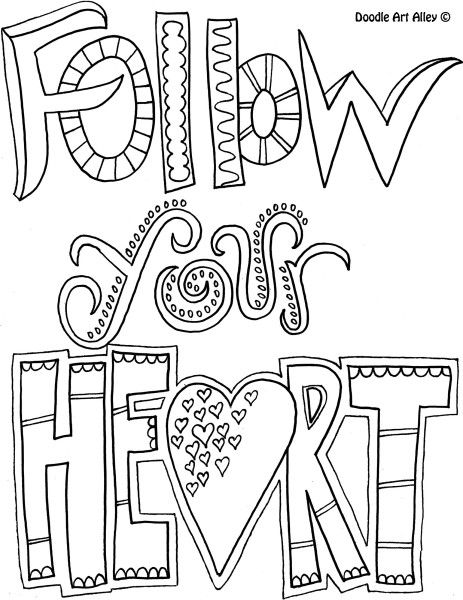 Quote Coloring Page Follow Your Heart Coloring