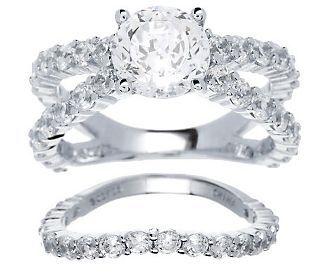 Epiphany Diamonique 100 Facet 4 50cttw 2 Pc Ring Set Qvc Jewelry Jewelry Women Jewelry