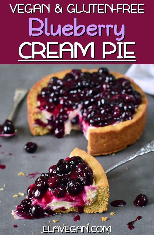 Cream Pie (Vegan Recipe) This blueberry cream pie is vegan, gluten-free, refined sugar-free, and easy to make. It's the perfect dessert if you love to eat a healthy creamy cheesecake without dairy or eggs. Homemade recipe with simple ingredients! | This blueberry cream pie is vegan, gluten-fre...