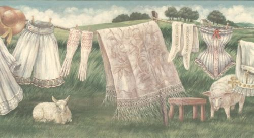 Vintage Country Clothes Line Wallpaper Border is part of Vintage Country Clothes -