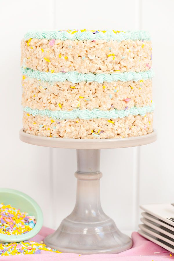 Admirable Spring Rice Krispy Treat Cake Recipe With Images Rice Personalised Birthday Cards Sponlily Jamesorg