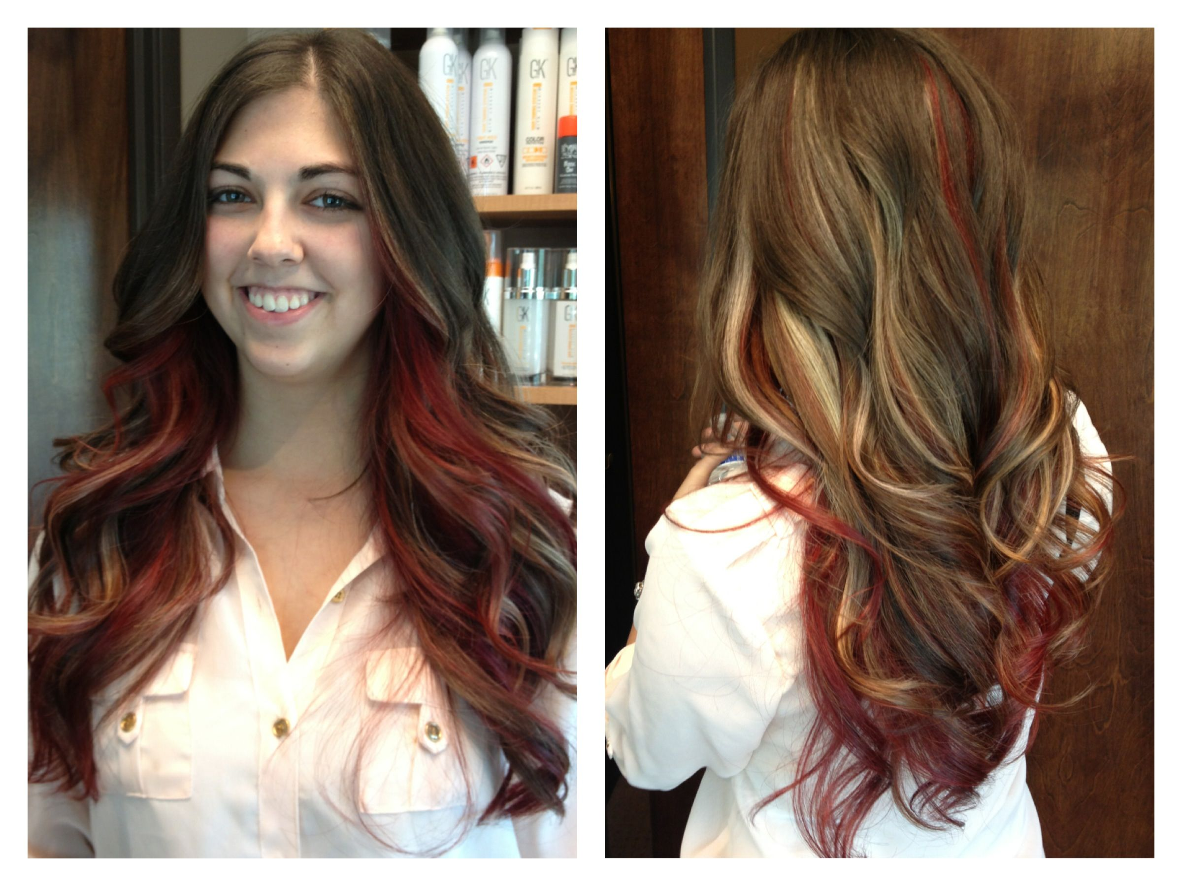 Beautiful Red And Blonde Highlights On Dark Hair Behindthechair