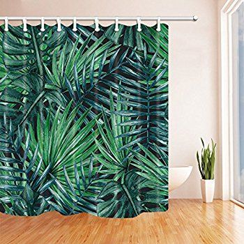 Dark Green Palm Tree Shower Curtain Mildew Resistant Polyester