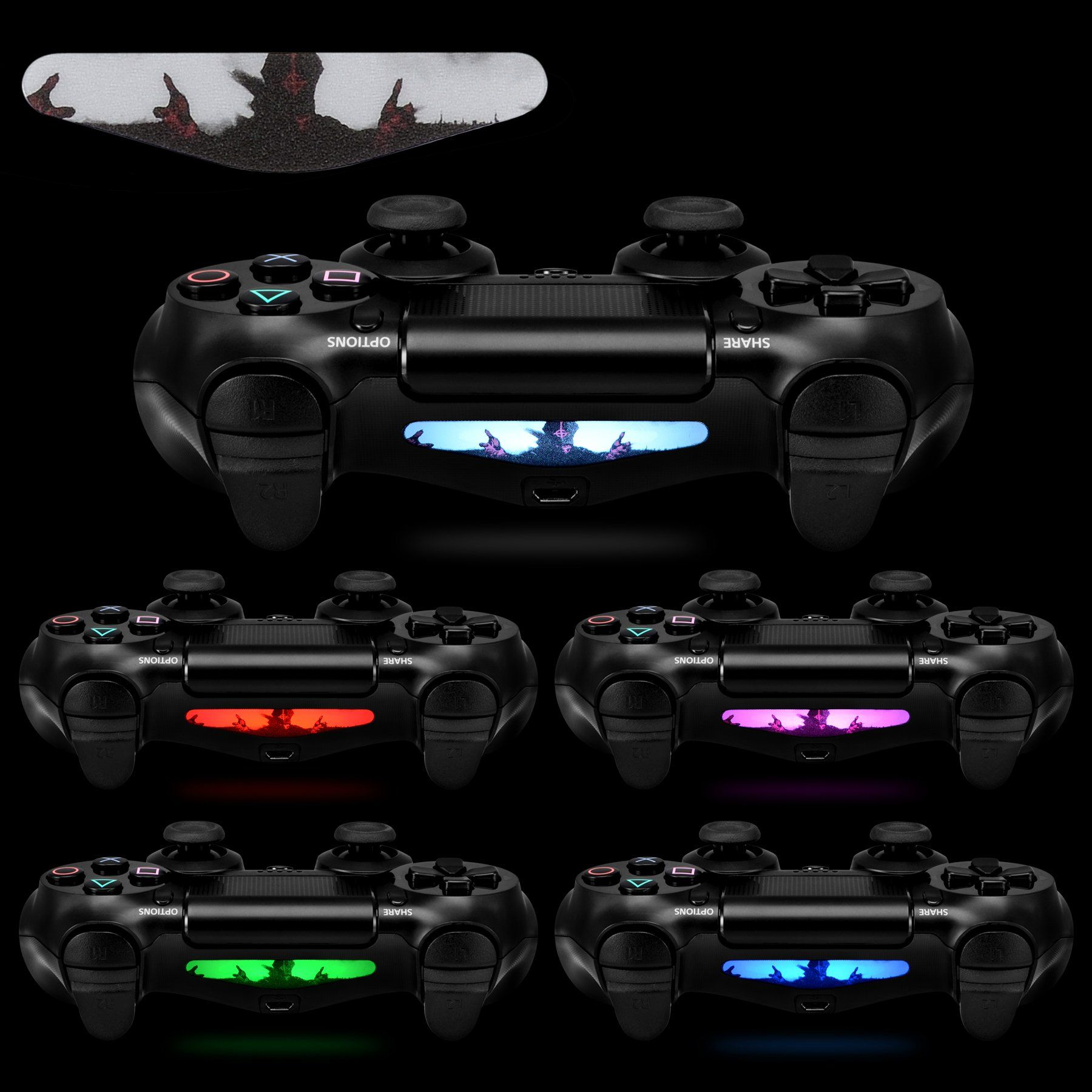 Extremerate 30 Pcs Set Color Artwork Pattern Signs Led Lightbar Cover Light Bar Decals Stickers Flim For Playstation 4 Ps4 Slim Ps4 Pro Contro Playstation Bar Lighting Ps4
