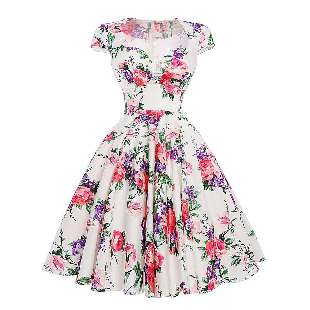50s Rockabilly Hot Pink Black Floral Retro Vintage Audrey Hepburn Dress