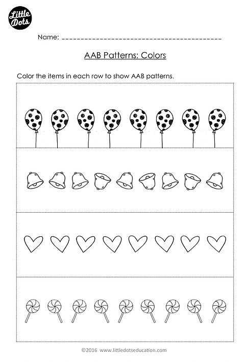 free aab pattern worksheet for kindergarten level create your own aab patterns using colors. Black Bedroom Furniture Sets. Home Design Ideas