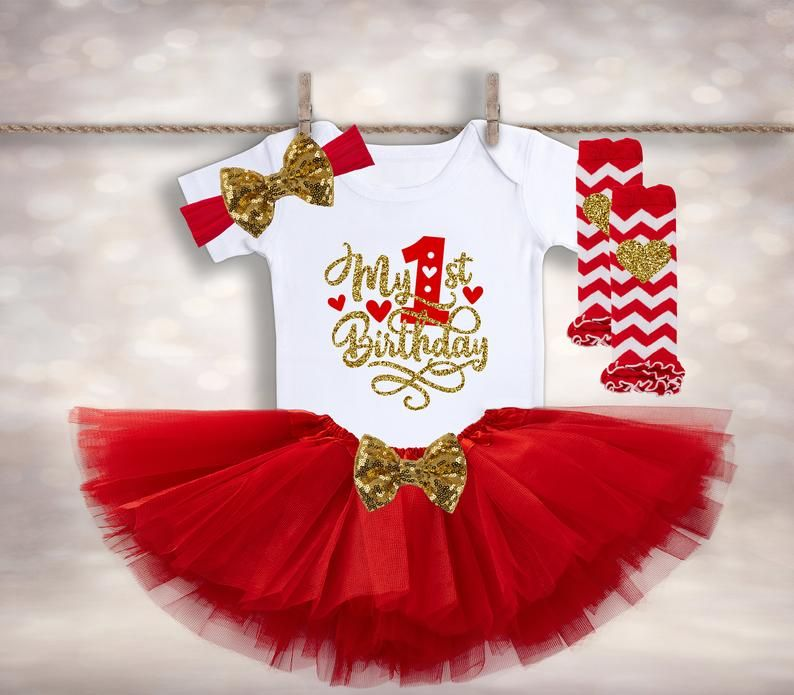 Baby Girl Christmas 1st Birthday Tutu Fancy Party Outfit Dress One Headband Red