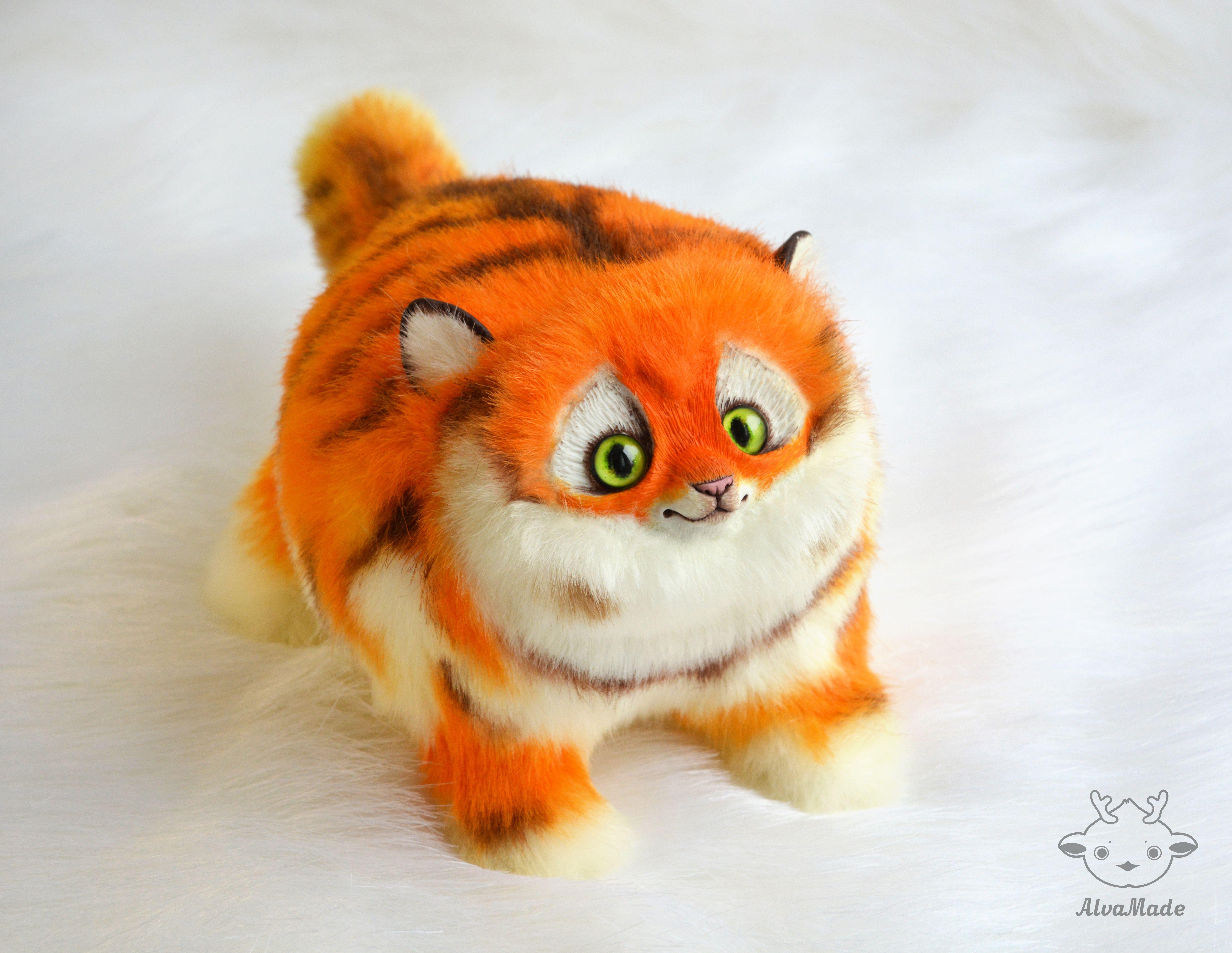 Fat Tiger Cat Ooak Handmade Fantasy Creature Art Doll Alvamade
