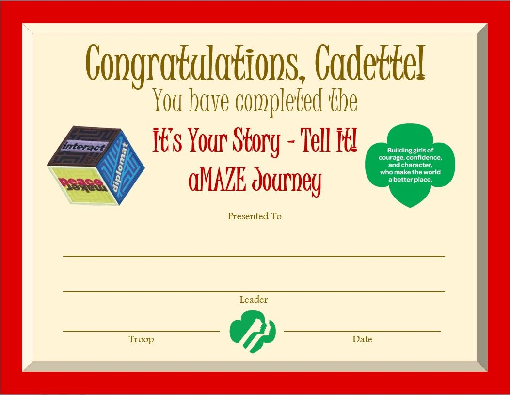 girl scout award certificate templates - cadette amaze journey award certificate cadette girl