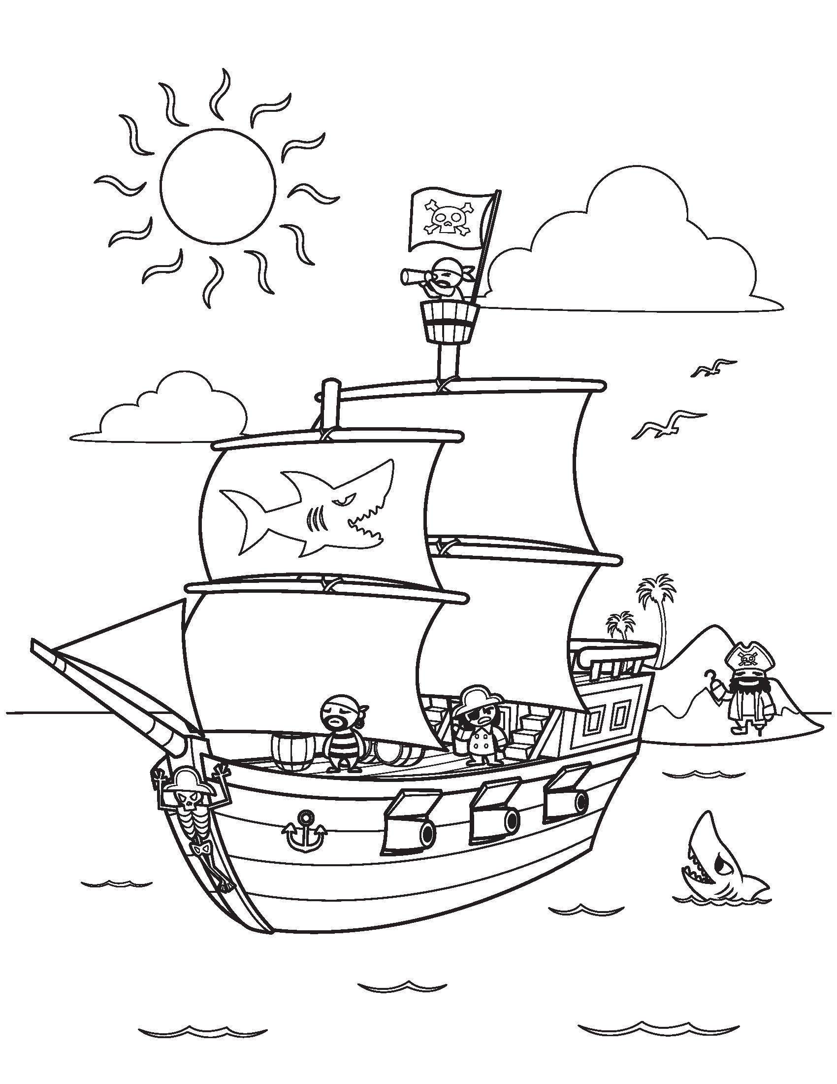 Pirate Ship Coloring Pages Kidsfreecoloring