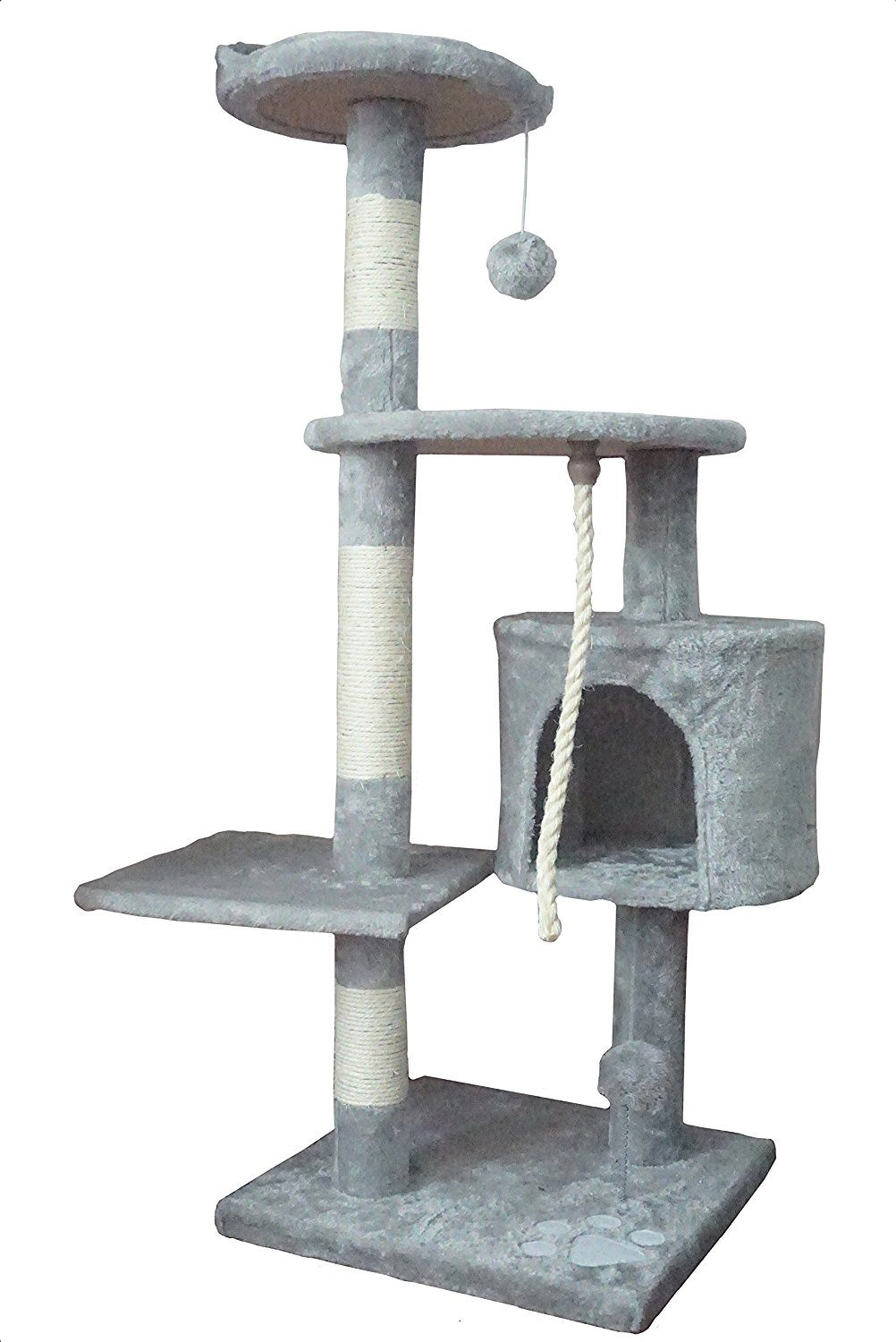 3b0ece706dd2 Gray Cat Climbing Tree Tower with Scratching Post and Toys   Cat ...