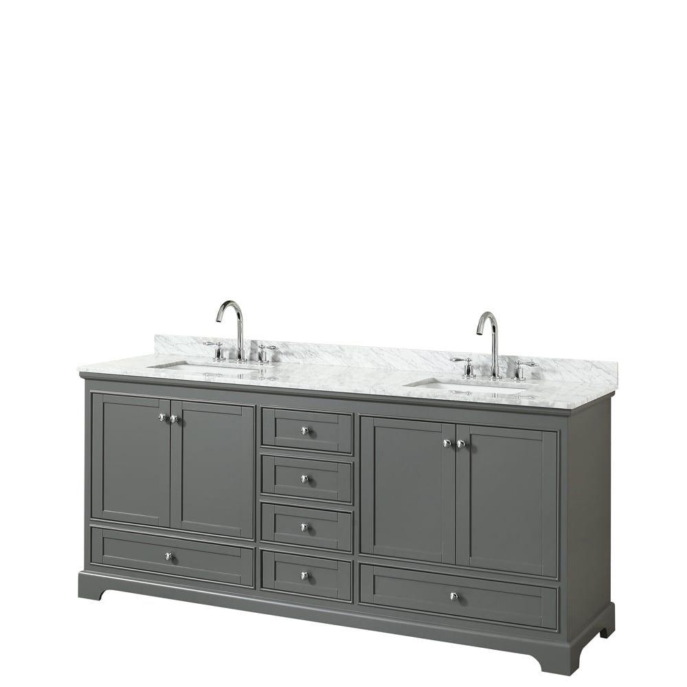 Wyndham Collection Deborah 80 Inch Double Bathroom Vanity No