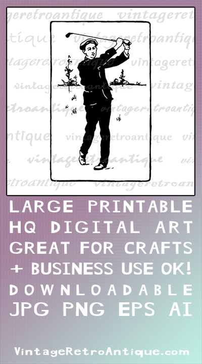 Digital Printable Golf Golfer Graphic Illustration Image Vintage