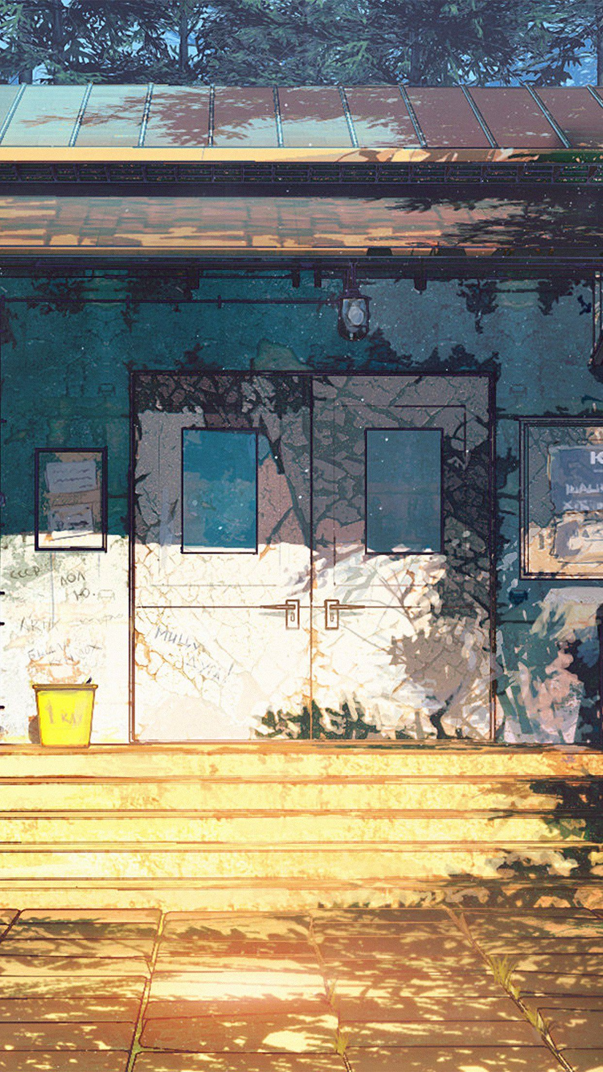 Camp Wood House Anime Illustration Art Arseniy Chebynkin Android Wallpaper Cool Wallpapers For Phones Best Iphone Wallpapers Phone Wallpaper Images