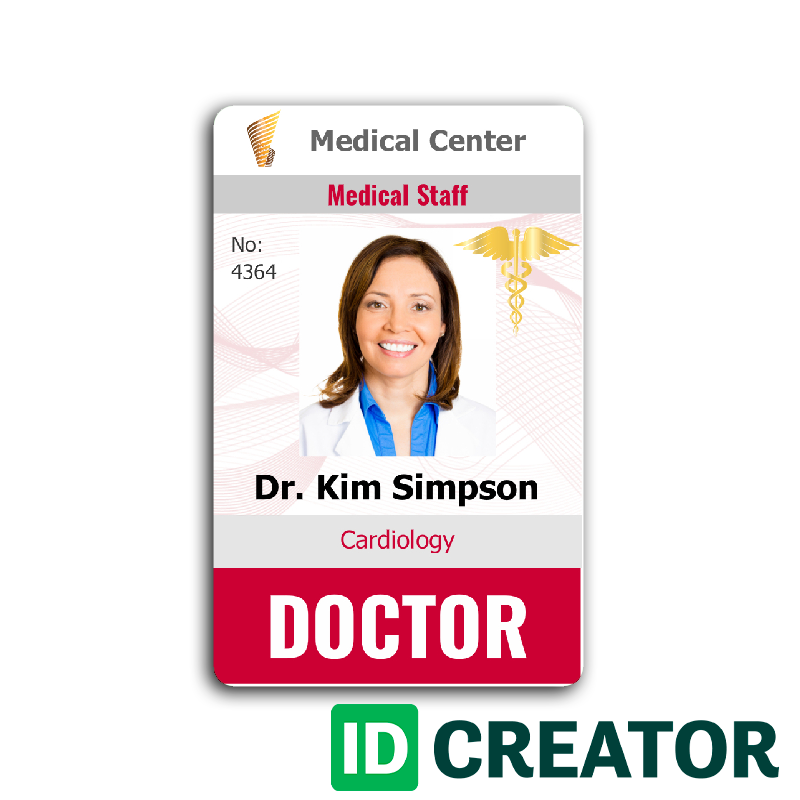 Doctor id card 4 healthcare hospital badge pinterest for Dr name tag template