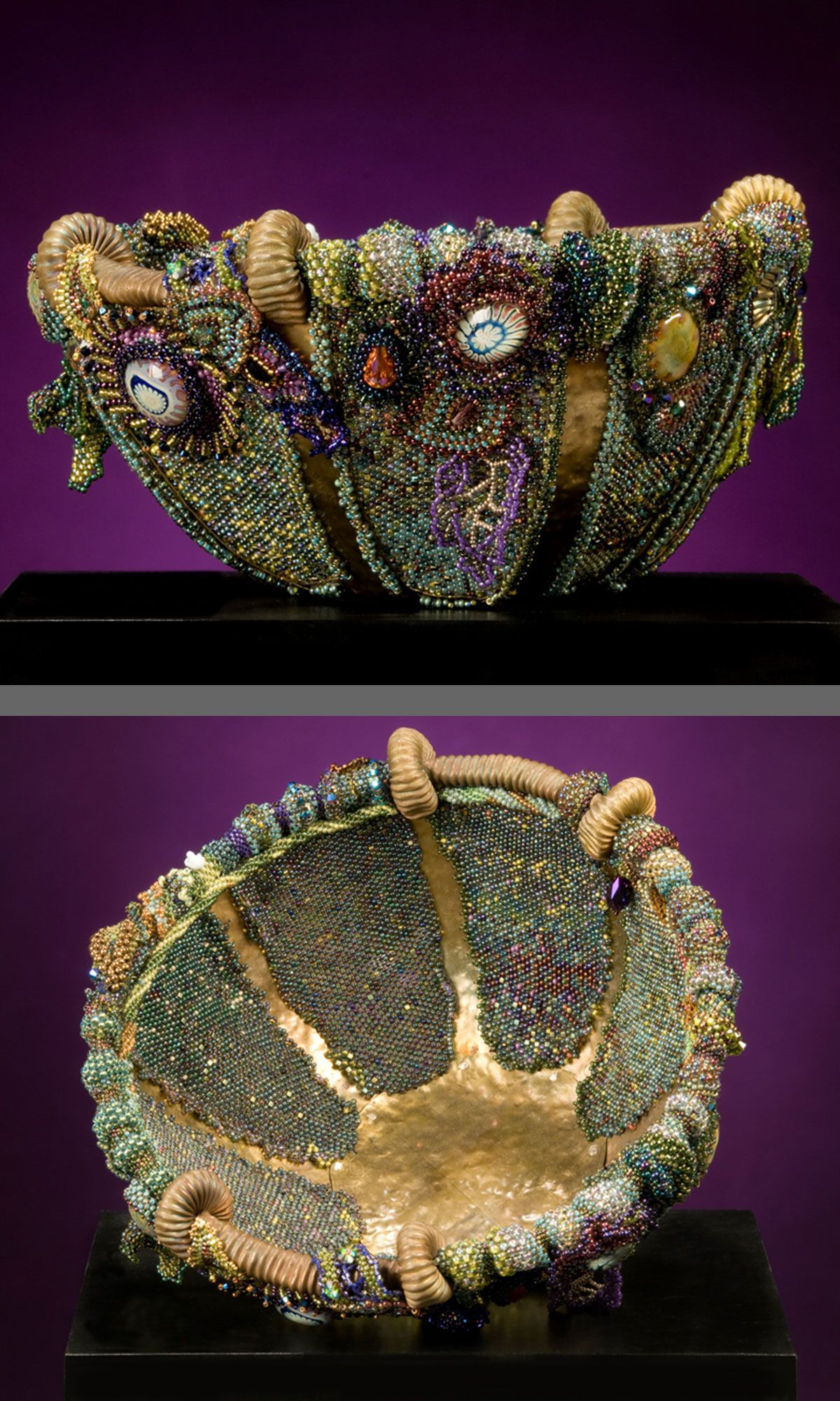 jewelry design bowl with seed beads and glass beads fire