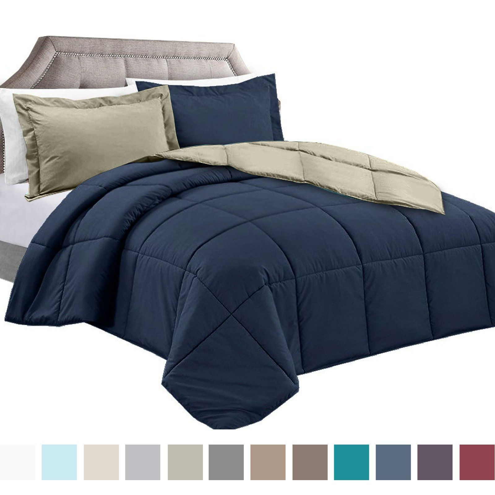 duvet queen with stitched hypoallergenic corner insert quilted tabs fill comforter white plush reversible down goose box itm alternative set