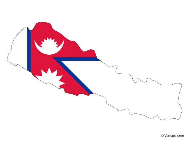 Flag Map Of Nepal Map Vector Flag Nepal Flag