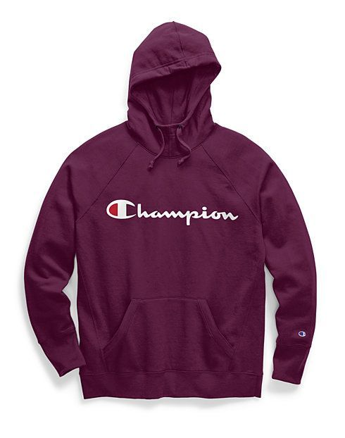 Champion Men's Script Logo Fleece Hoodie Blue S | Champion