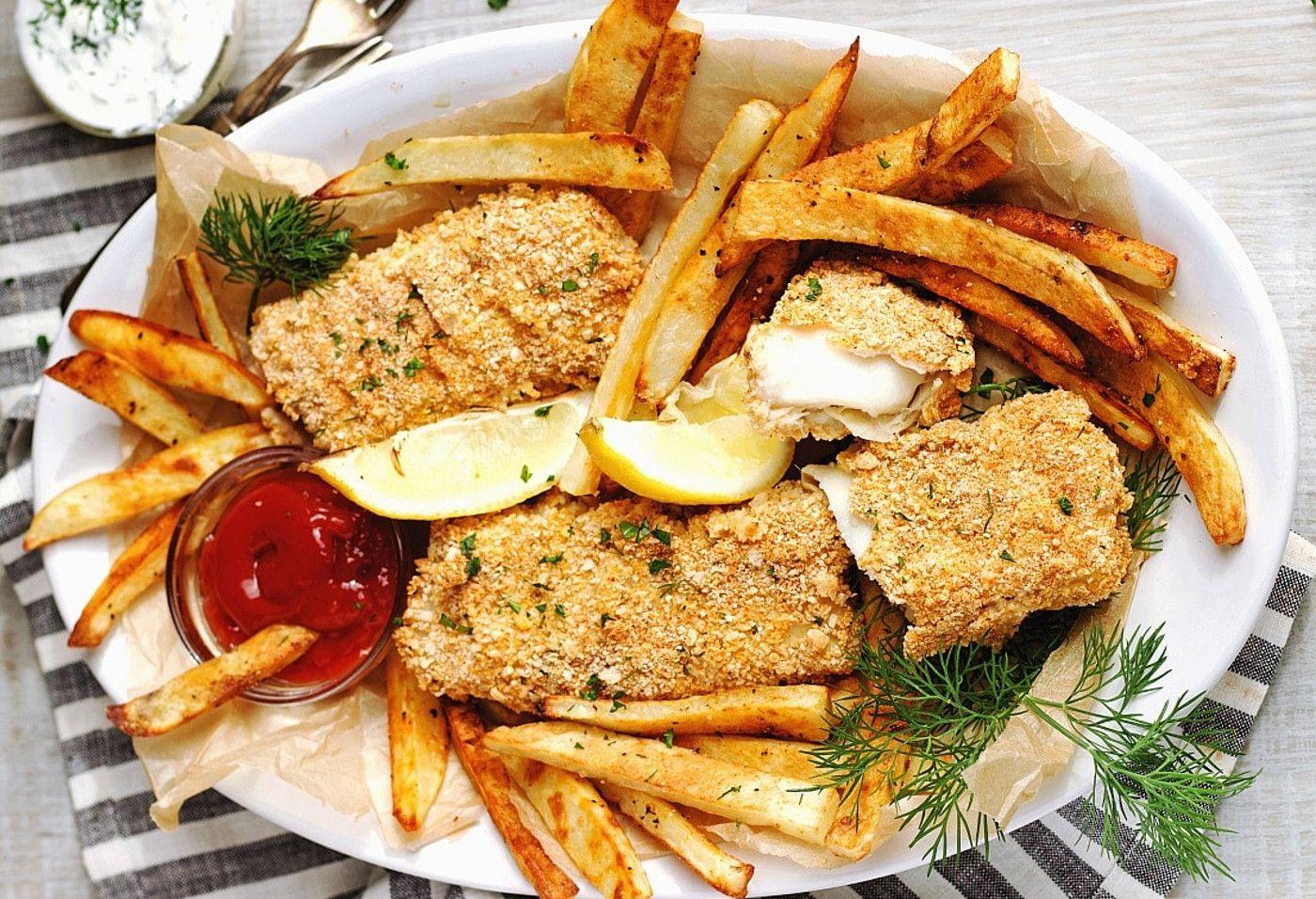 La meilleure recette de fish and chips maison fait au four poissons et fruits de mers - Chips fait maison au four ...
