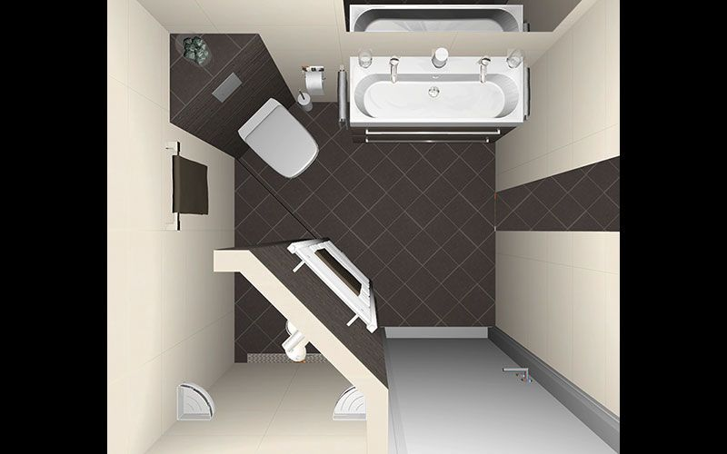 Badkamer inloopdouche muurtje ванная bathroom