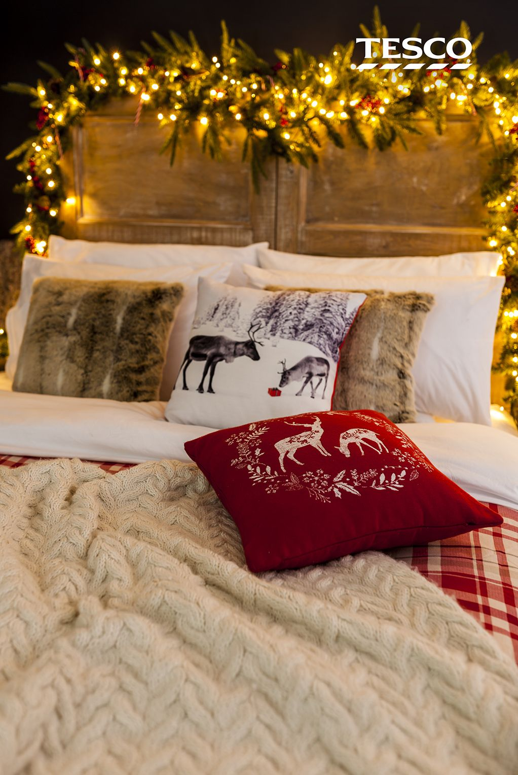 This Christmas stag cushion is a stylish way of