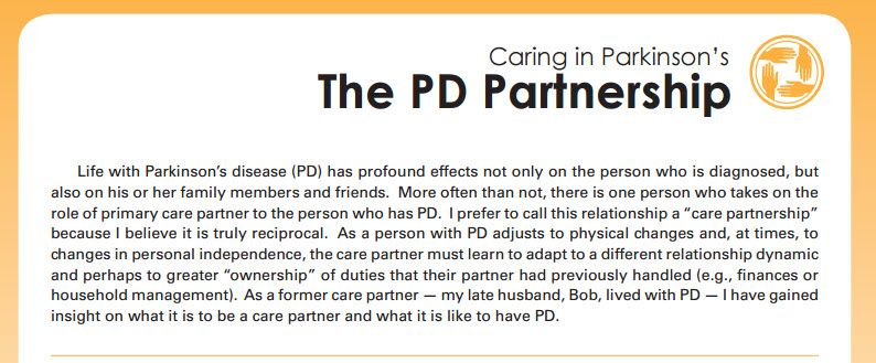 The PD Partnership tip sheet from Parkinson's Disease
