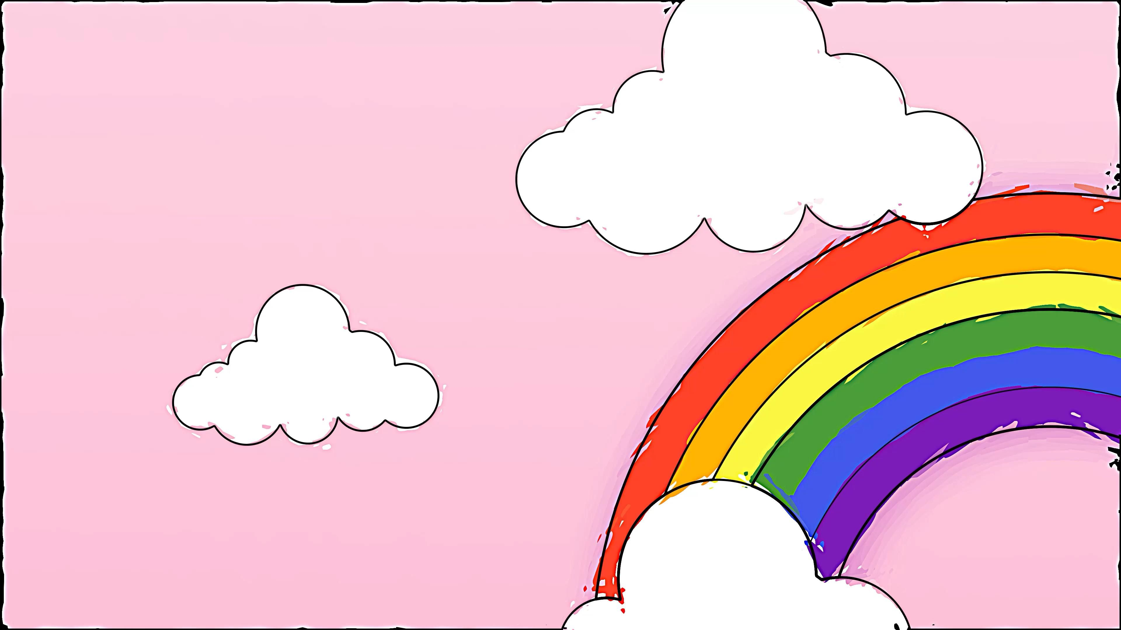 Free Motion Graphic Background 🌈 Rainbow Doodle Drawing Video for Virtual Classroom