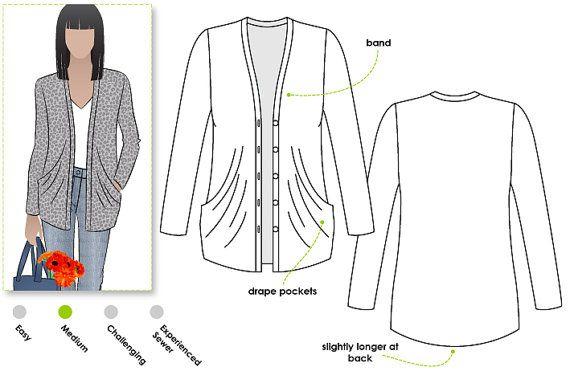 Simone Knit Cardi - Sizes 22, 24, 26 - Women\'s drape pocket cardigan ...
