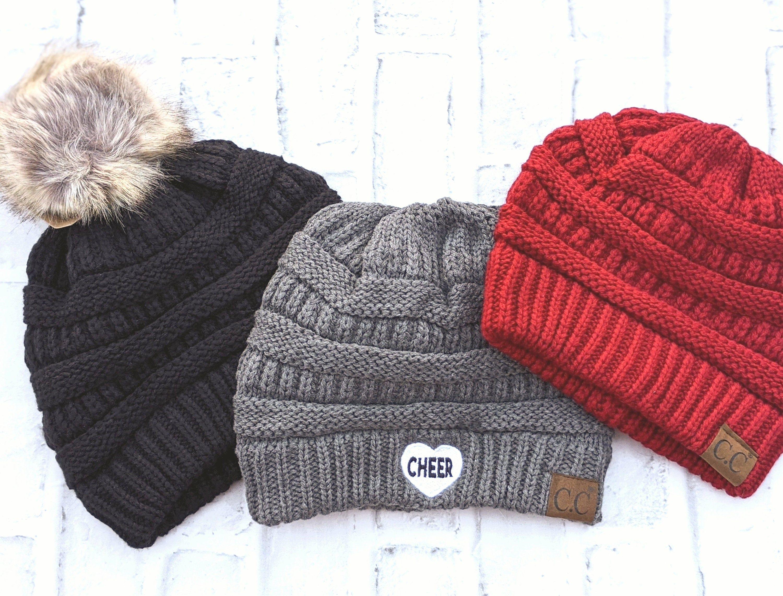 Monogram Pom Pom Beanies Knit Hats Fur Pom and Soft Knit Hat Fun Initial Hats